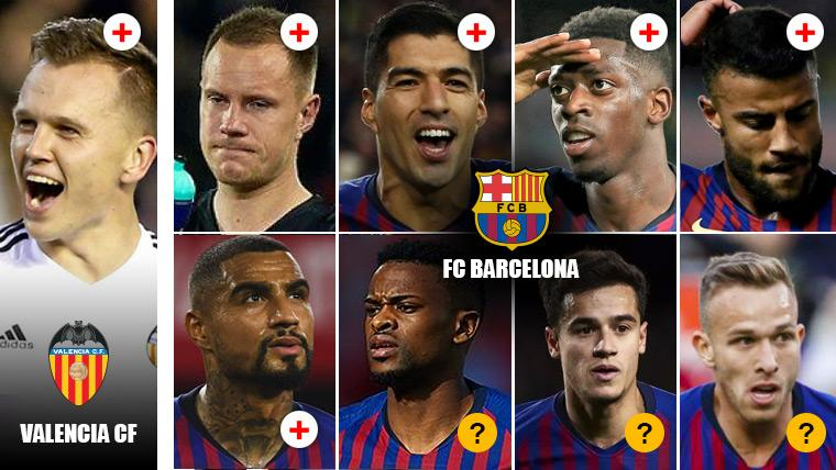 Así está la enfermería del Barça-Valencia: Los culés, contra los 'che' y contra las lesiones