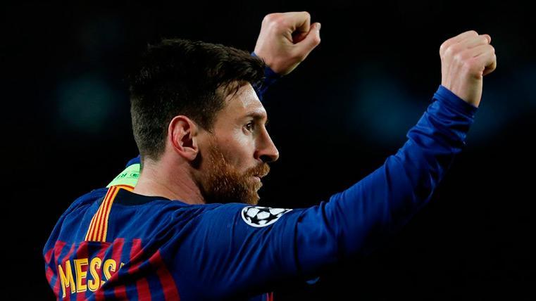Leo Messi celebra un gol este año con el Barça