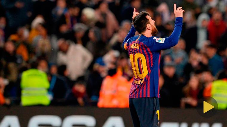 Leo Messi celebra un gol con el FC Barcelona