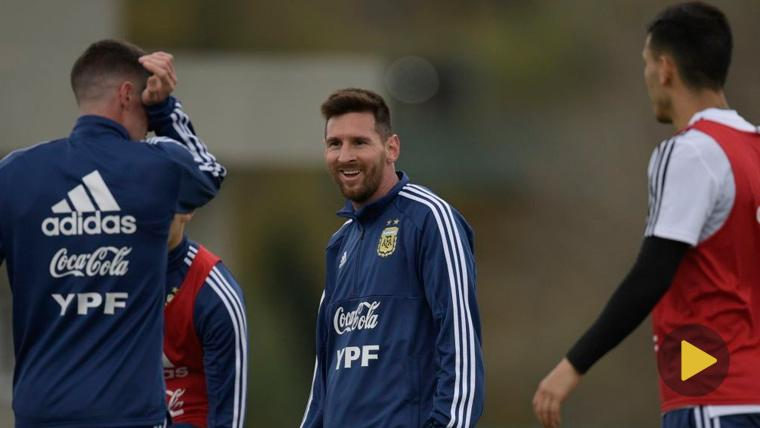 Leo Messi en un entrenamiento de la selección de Argentina