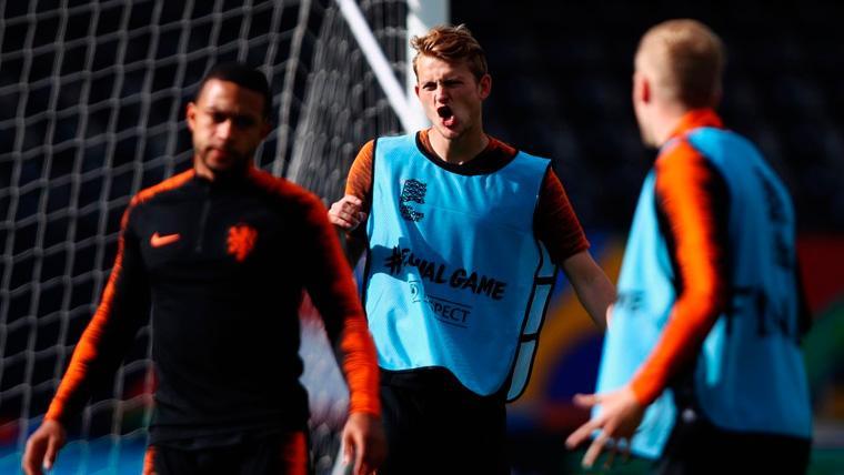Matthijs de Ligt en un entrenamiento de la selección de Holanda