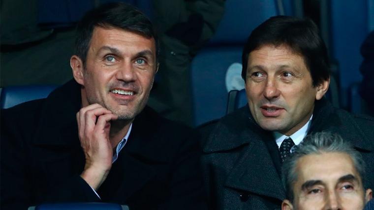 Paolo Maldini y Leonardo en un partido de la Serie A