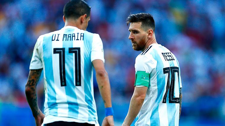 Ángel Di María y Leo Messi, durante un partido con Argentina