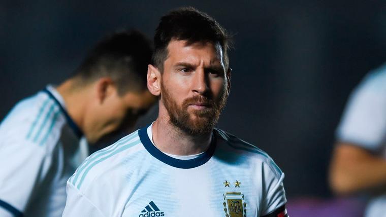 Leo Messi en un partido de la selección de Argentina