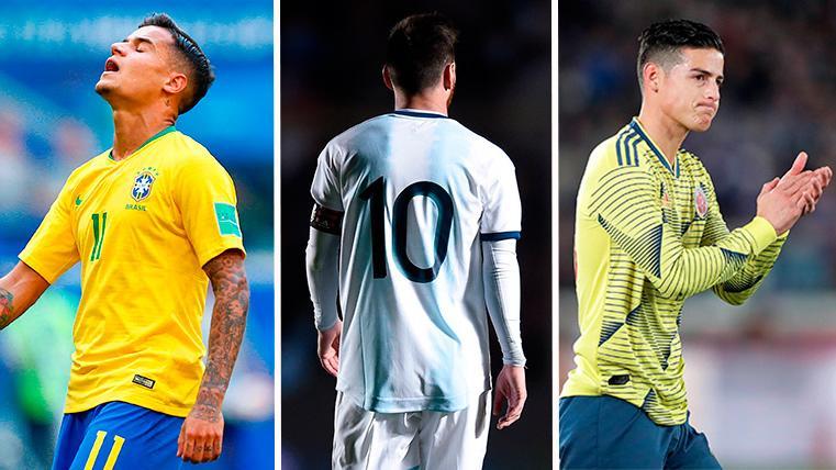 Coutinho, Messi y James Rodríguez, con sus respectivas selecciones
