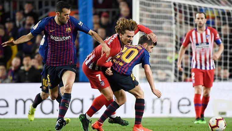 Antoine Griezmann, durante un partido contra el Barça en el Camp Nou