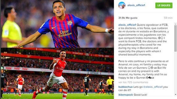Alexis publica un mensaje de agradecimiento al Barça