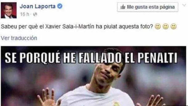 Laporta se burla de Cristiano Ronaldo a trav�s de Facebook