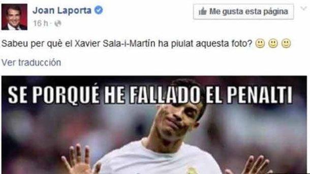 Laporta se burla de Cristiano Ronaldo a través de Facebook