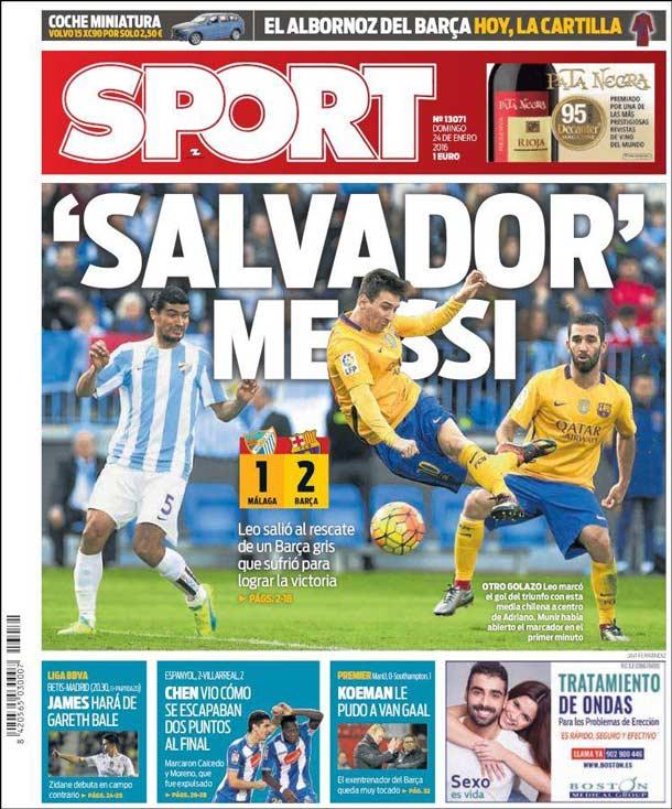 """Portada Sport: """"Salvador"""" Messi"""