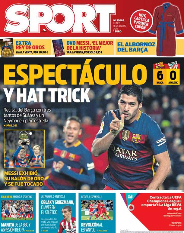 Portada sport espect culo y hat trick fc barcelona noticias for Noticias actuales de espectaculos