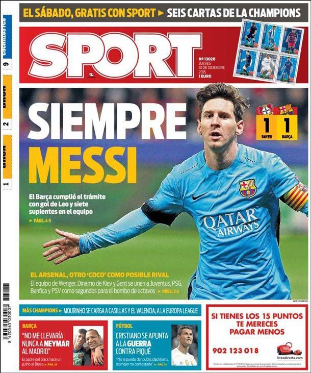 Portada Sport: Siempre Messi