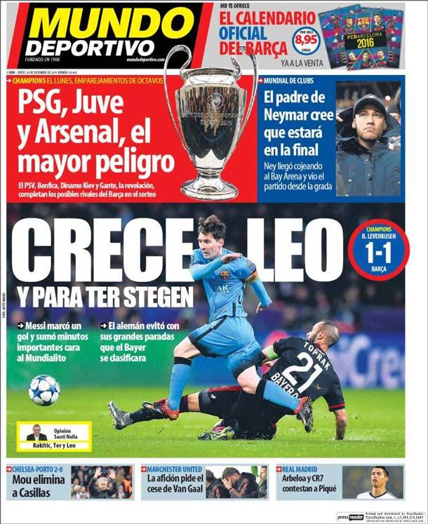 Portada Mundo Deportivo: Crece Leo y para Ter Stegen