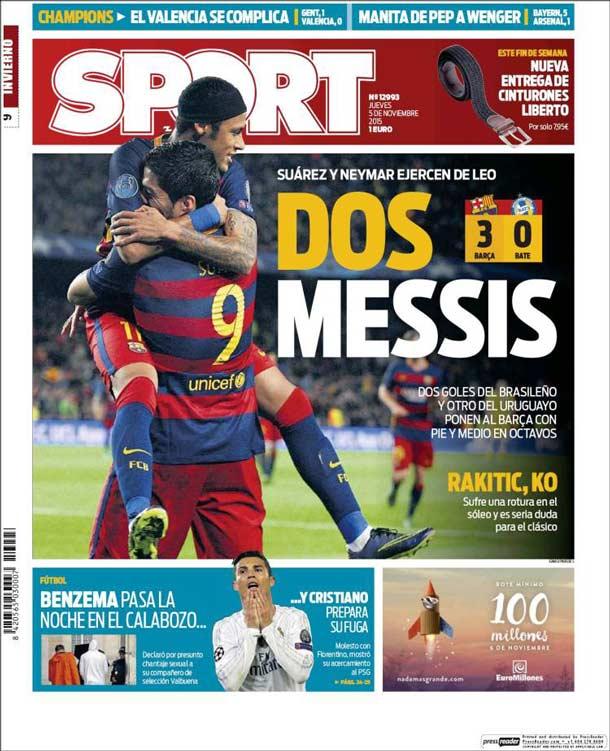 Portada Sport: Dos Messis