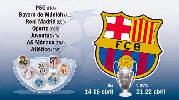 Los siete posibles rivales del FC Barcelona en cuartos de final
