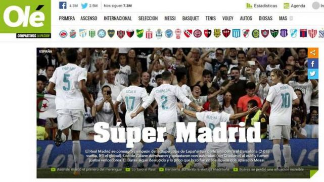 The World Wide Press Cutting The Real Madrid Nude To The Barca