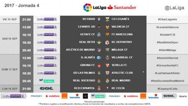 Calendario De Liga Bbva 15 16.Liga Espanola Partidos Horarios Y Tv De La Jornada 4