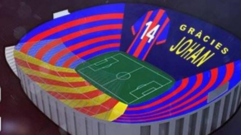 El Bar�a revela el mosaico del Cl�sico en homenaje a Cruyff